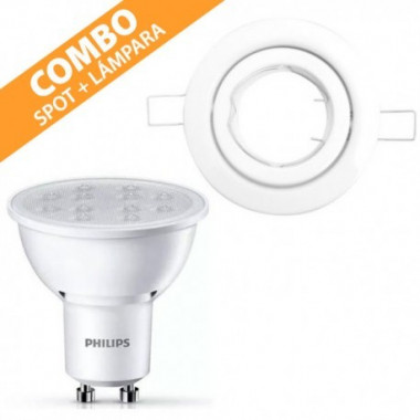 COMBO SPOT EMBUTIDO MOVIL CANDIL + LAMPARA LED 5-50W PHILIPS